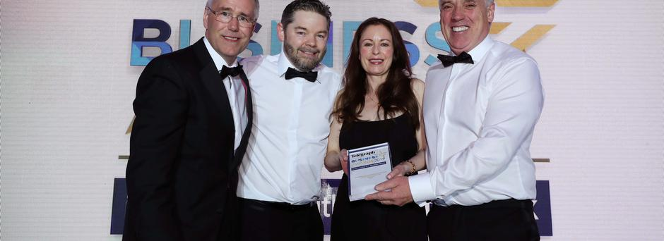 From left: Richard Donnan, Ulster Bank, Brendan Maynes, CDE Global, Gail Walker, Belfast Telegraph Editor and CDE Global founder Tony Convery, with his Outstanding Business trophy at last week's business awards
