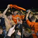 Party time: Carrick celebrate their play-off triumph