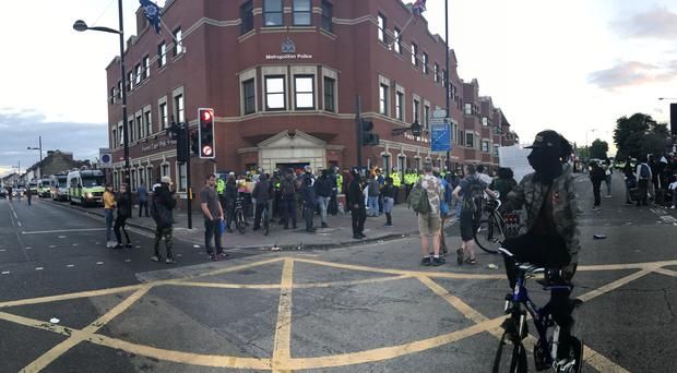 There were protests outside Forest Gate Police Station over the death of Edir Frederico Da Costa (Lauren Hurley/PA)