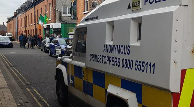 The PSNI have conducted searches at the offices of Saoradh in Derry. Credit: BBC
