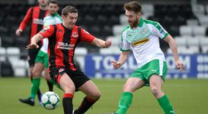 Niall Grace (right) in action for Cliftonville against Crusaders (INPHO/Stephen Hamilton)