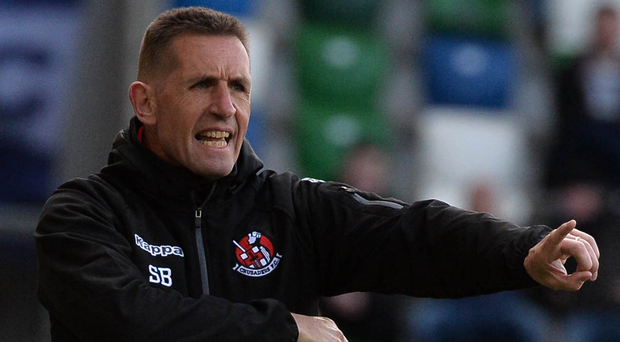 Calling the shots: Stephen Baxter at Saturday's Irish Cup Final