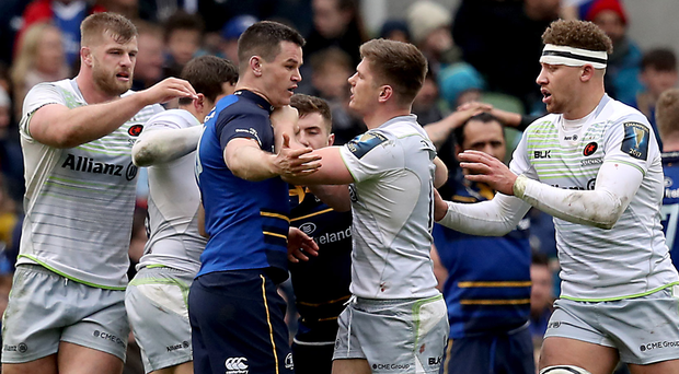 Bit of previous: Leinster's Johnny Sexton and Owen Farrell of Saracens scuffle in last year's quarter-final