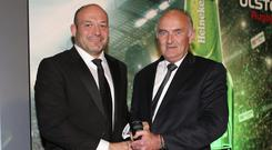 Best man: Rory Best receives the Heineken Ulster Rugby Personality of the Year Award, from Pat Maher representing Heineken, during the Heineken Ulster Rugby Awards held at the Crowne Plaza Hotel in Belfast