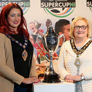 Quick draw: (from left) Paul Johnston of STATSports, Mayor of Mid and East Antrim Lindsay Millar, Mayor of Causeway Coast and Glens Brenda Chivers, David May and Victor Leonard, Chairman of STATSports SuperCupNI, pictured in The MAC, Belfast as the draw takes place for the STATSports SuperCupNI