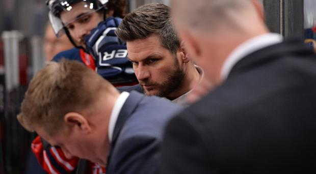 Belfast Giants head coach Adam Keefe in his role as Great Britain assistant coach (MB Media/Getty Images)