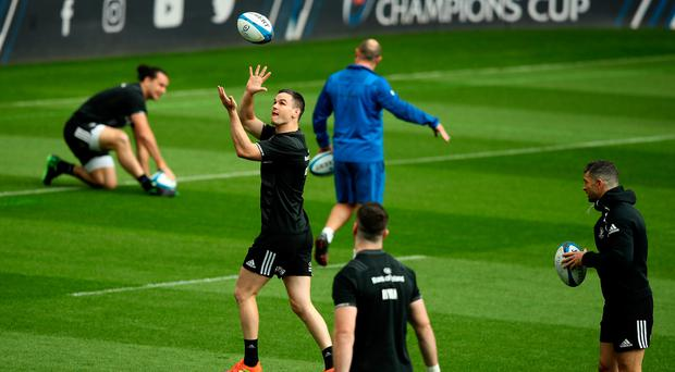 41da697aac2 Hold on: Johnny Sexton catches the ball during the Leinster captain's run  at St James