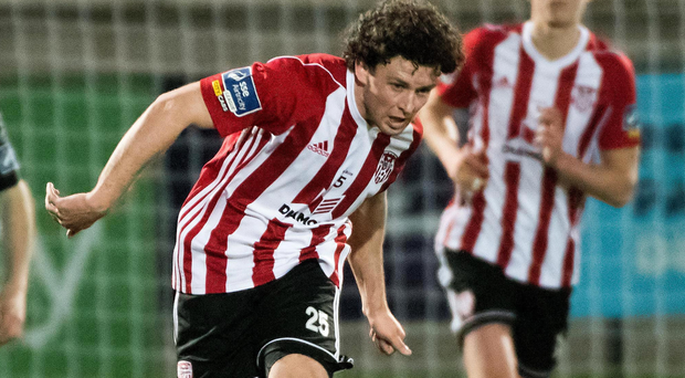 Off to flyer: Barry McNamee fired Derry City ahead against St Pat's at the Brandywell last night
