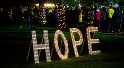 A hope sign at Ormeau Park in Belfast, Northern Ireland, during the Darkness Into Light event. Credit: Brian Morrison/PA Wire