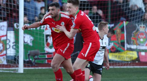 Cliftonville's Joe Gormley celebrates his goal during todays game at Solitude in Belfast (Desmond Loughery/Pacemaker Press)