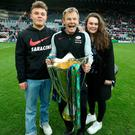 Father's day: Mark McCall, son Bryn and daughter Jemma celebrate Sarries' Champions Cup victory