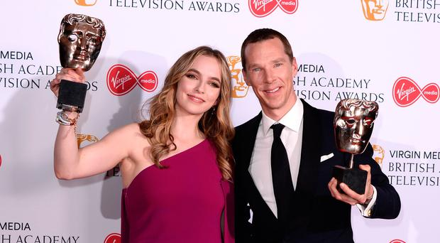 Jodie Comer, winner of best actress award for Killing Eve, and Benedict Cumberbatch, best leading actor award for Patrick Melrose