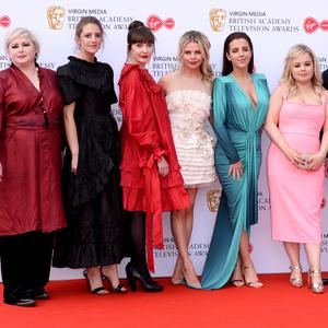The cast of Derry Girls (L-R) Siobhan McSweeney, Louisa Harland, Kathy Kiera Clarke, Saoirse-Monica Jackson, Jamie-Lee O'Donnell, Nicola Coughlan and Dylan Llewellyn attends the Virgin Media British Academy Television Awards 2019 at The Royal Festival Hall on May 12, 2019 in London, England. (Photo by Jeff Spicer/Getty Images)