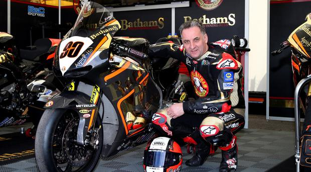 Michael Rutter with the #90 plate he will run on his Honda in the superbike race at the North West 200