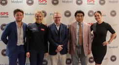 Modest! Golf owner Niall Horan, golfer Charley Hull, European Tour chief executive Keith Pelley, ISPS Handa chairman Dr Haruhisa Handa and presenter Kirsty Gallagher at the launch of the new ISPS Handa World Invitiational to be held at Galgorm Castle Golf Club and Massereene Golf Club in Northern Ireland