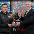 Top man: David Healy receives his Manager of the Year award from sponsor Paul McLean (McLean Bookmakers)
