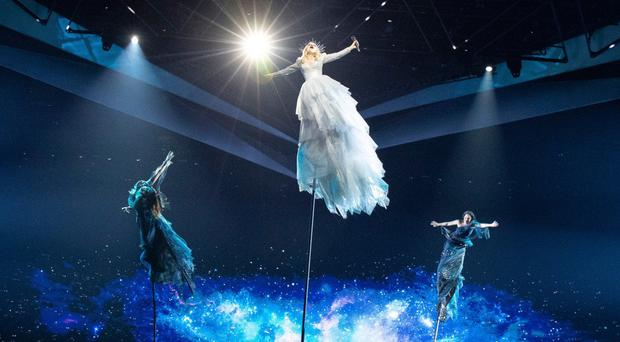 Australia's Kate Miller-Heidke rehearses for the first semi-final (Andres Putting/PA)