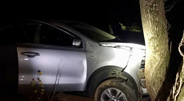 Police were called to the scene after a suspected drunk driver crashed into a front garden in Maghera. Credit: PSNI