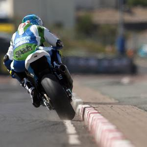 2019 fonaCAB International North West 200 competitor Dean Harrison (Silicone Kawasaki) goes close to the kerbs during the opening Superbike practice session today (Pic: Stephen Davison)