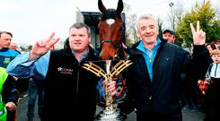 Tiger feat: Michael O'Leary (right) with Gordon Elliott and last month's Grand National winner Tiger Roll