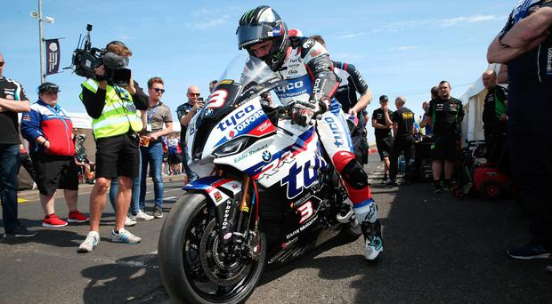 Super show: Michael Dunlop (Tyco BMW) during the opening Superbike practice session