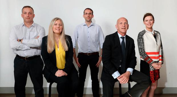 Jim Bannon (Allstate NI); Prof Adele Marshall (QUB); David Crozier (CSIT), George McKinney (Invest NI), and host Naomi McMullan at the NI skills gap event at The Mac in Belfast