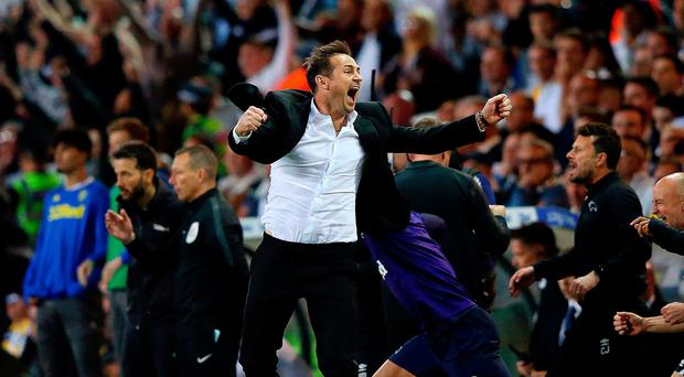 Joy and pain: Frank Lampard celebrates leading Derby into the play-off final