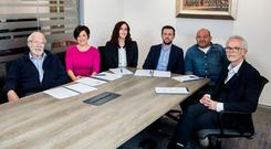 Pictured L-R actor Ian McElhinney, UTV journalist Rita Fitzgerald, actress Bronagh Waugh, Sunday Life editor Martin Breen, Ulster & Ireland rugby captain Rory Best, and Tony McGinn Store Director of Specsavers Abbey Centre