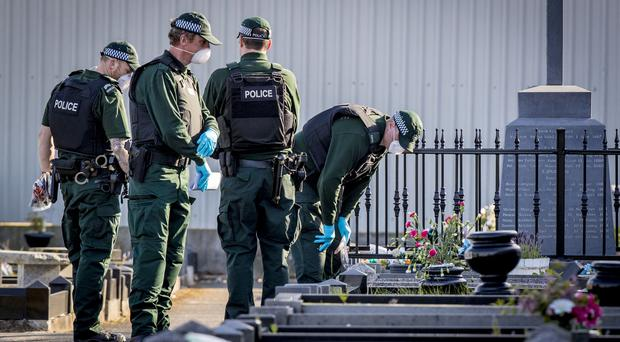 Police at the scene of an incident in Milltown Cemetery, west Belfast on May 16th 2019 (Photo by Kevin Scott for Belfast Telegraph)