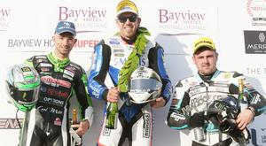 PACEMAKER BELFAST 16/05/2019 Peter Hickman (60) celebrates his victory during this evenings Bayview Hotel Superstock race at the North West 200. 2nd Glenn Irwin 3rd Michael Dunlop Photo Stephen Davison/Pacemaker Press