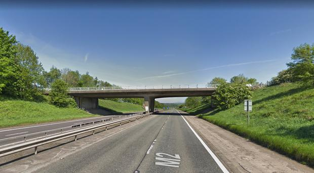 Youths were spotted throwing objects from the Crebilly Road flyover. Credit: Google