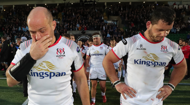 Sad ending: Ulster's Rory Best and Marcell Coetzee dejected after last night's defeat