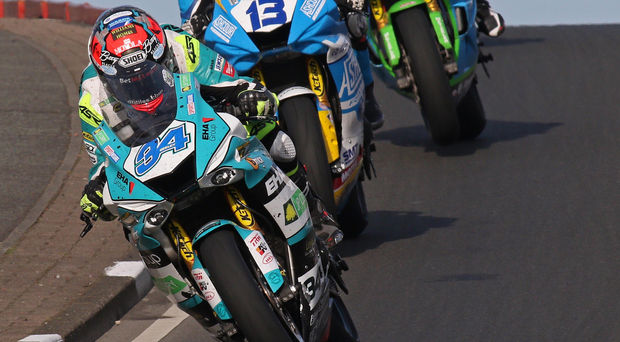 The finest of margins: Alastair Seeley (EHA Racing) leads the way