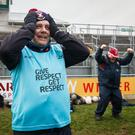 History boys: Mickey Graham celebrates after Mullinalaghta's famous victory