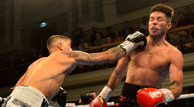 Lights out: Marco McCullough lands a big right hand on Declan Geraghty as he captures the IBF European title