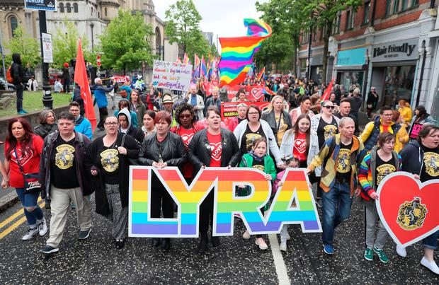 Sara Canning (front centre), partner of murdered journalist Lyra McKee, marching with protesters through Belfast city centre demanding same sex marriage in Northern Ireland. Photo credit: Brian Lawless/PA Wire