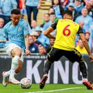 Manchester City's Raheem Sterling and Watford's Adrian Mariappa in action during the FA Cup Final at Wembley, London on May 18th 2019 (Photo by Kevin Scott for Belfast Telegraph)