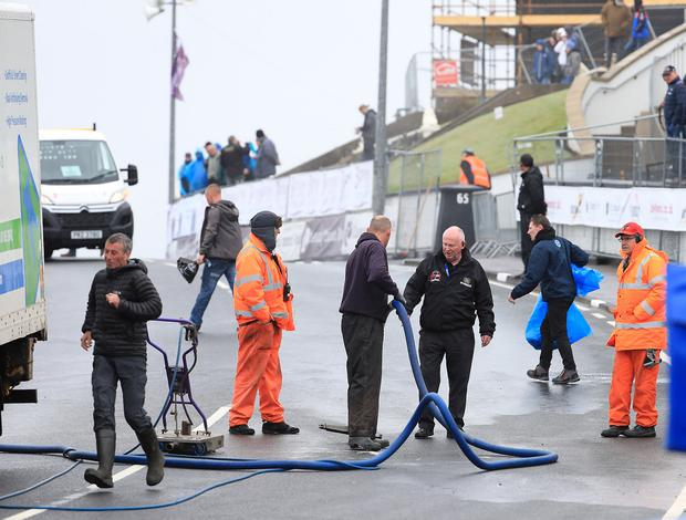 Mervyn Whyte inspects the work being carried out at Black Hill during the North West 200 (David Maginnis/Pacemaker Press)