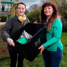 Claire McCallum, communications manager at Bryson Recycling, with Sarah Logue, activity worker at MACS
