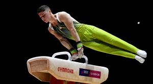 He's back: Rhys McClenaghan secured a silver medal on his return to action in China