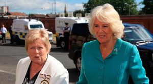 The Duchess of Cornwall visits the Belfast Welcome Organisation. Credit: Owen Humphreys/PA Wire