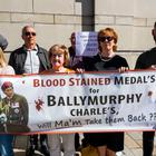 Families and supporters of those killed in shootings involving the parachuted regiment in Ballymurphy West Belfast 1971, protest at the visit of Prince of Wales, the regiment's commander-in-chief, to Belfast. Photo credit: Liam McBurney/PA Wire