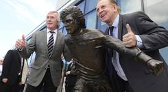 Pat Jennings and Gerry Armstrong at George Best statue unveiling. Picture By: Arthur Allison/Pacemaker Press