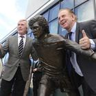 PACEMAKER BELFAST 22/05/2019: George Best statue unveiled in Belfast, Northern Ireland. A bronze statue of football legend George Best has been unveiled. Funded by the public, the statue was created by Belfast sculptor Tony Currie of the Lecale Bronze art group. The life sized statue sits outside the Olympia Leisure Centre - just yards away from Windsor Park where Best played many games for Northern Ireland. Pictured at the unveiling Pat Jennings and Gerry Armstrong former Northern Irish footballers. Picture By: Arthur Allison/Pacemaker Press
