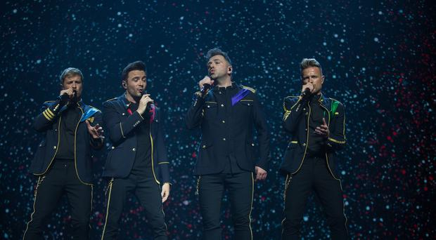 Westlife's Mark Feehily, Kian Egan, Shane Filan and Nicky Byrne performing the at SSE Arena, Belfast. Pic:Mark Condren 22.5.2019