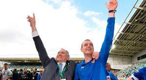 Coleraine chairman Colin McKendry (left) and returning manager Oran Kearney (right).