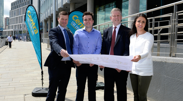 Nigel Maxwell, Centra Sales; Stephen Gracey, owner; Graeme Johnston, Belfast Harbour and Anna McErlean, owner, Centra City Quays