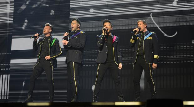 Westlife Kian Egan, Nicky Byrne, Mark Feehily and Shane Filan,make their long-awaited return to the stage as they kick off their reunion tour in Belfast. Picture By: Arthur Allison/Pacemaker Press