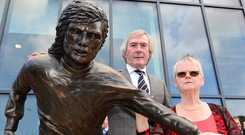 The bronze statue of football legend George Best with Pat Jennings and Barbara McNarry George Best's sister