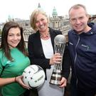 (From left) Karen Rollo, executive manager Netball NI; Tracy Meharg, Department for Communities Permanent Secretary; Geoff Wilson, chair Netball NI (Pic: Freddie Parkinson)
